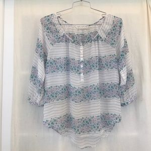 Lauren Conrad Sheer Floral Striped Blouse Sz. XL